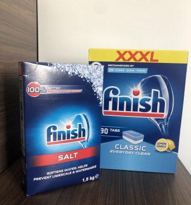 Combo muối rửa bát finish + Viên rửa bát