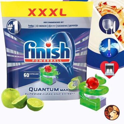 Viên rửa bát Finish Quantum Max 60 viên hương táo chanh